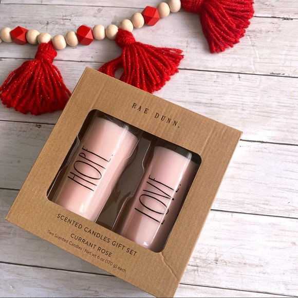 Rae Dunn HOPE LOVE Candle set Currant Rose Pink
